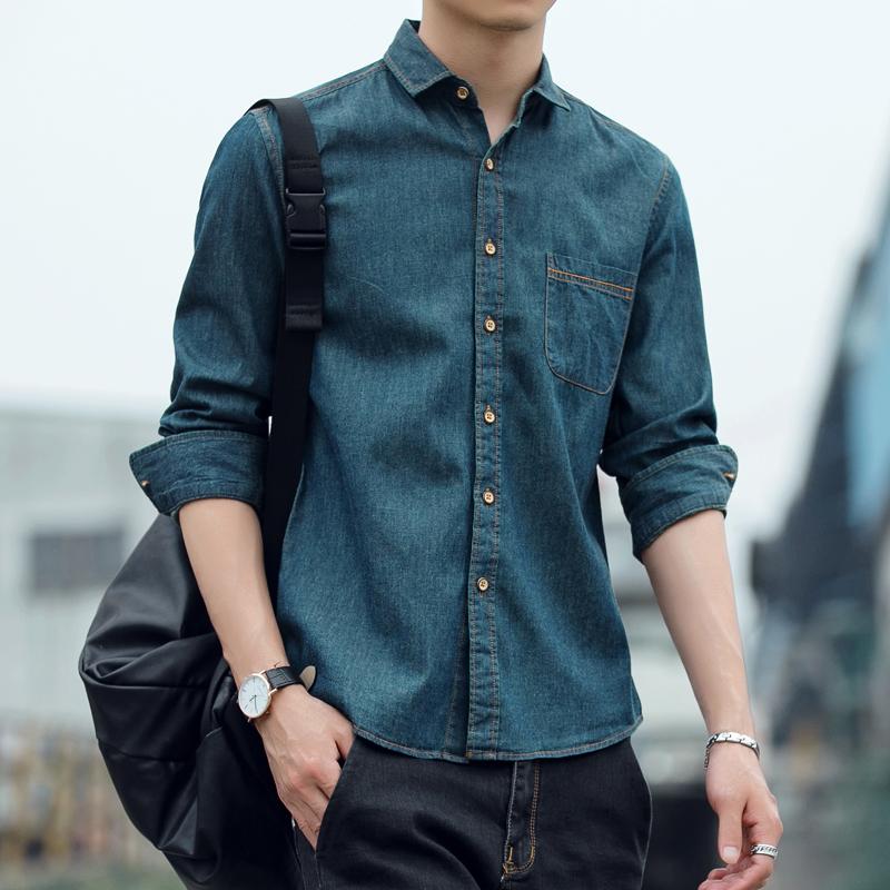 春季牛仔男士衬衫长袖法式休闲痞帅韩版潮流帅气衣服港风衬衣外套