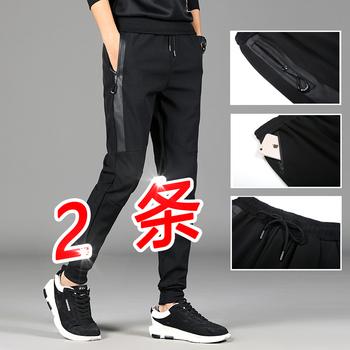 男士韩版潮流秋冬季加绒束脚运动裤