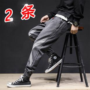 牛仔裤男士裤子韩版潮流加绒加厚潮牌束脚宽松秋冬季工装休闲长裤图片