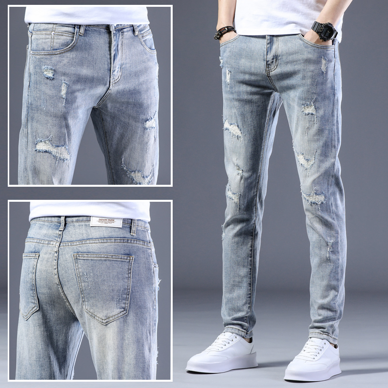 Hong Kong broke hole jeans men's slim small foot casual high-end light colored tide card long pants summer thin section