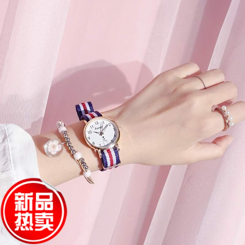 A kind of Watch girl student slim belt small and simple temperament fashion lovely exquisite canvas belt small fresh new in 2019