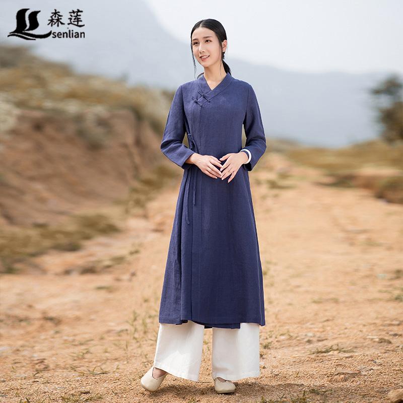 Artistic retro Chinese Tang suit women Hanfu cotton and linen shirt Chinese style linen dress Zen