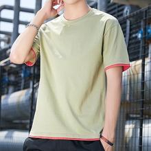 男士潮牌假2件纯棉短袖T恤