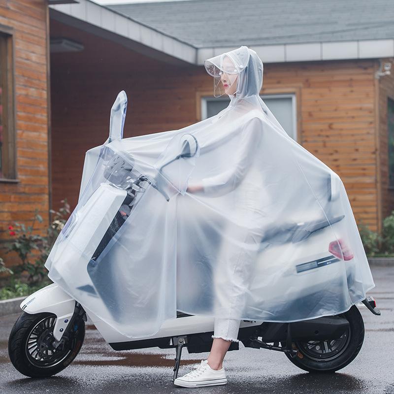 电瓶电动车雨衣时尚透明加大连体成人摩托自行车户外双帽檐雨披