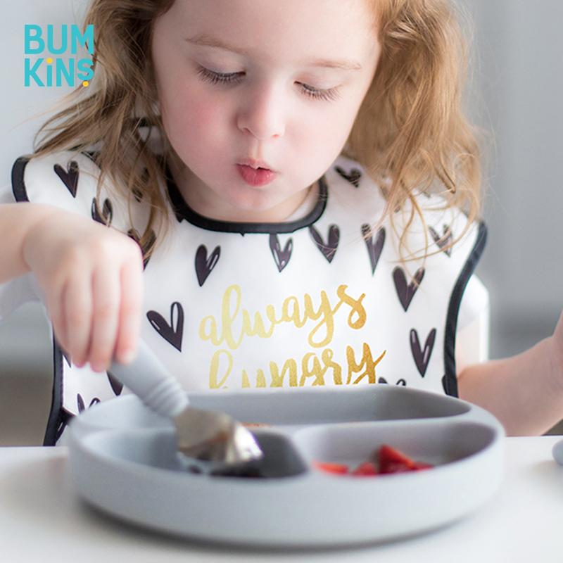 Bumkins儿童餐盘分格吸盘碗宝宝餐具婴儿硅胶勺子防摔吃饭辅食碗