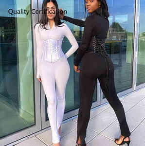 2020 fall solid color front zipper casual jumpsuit