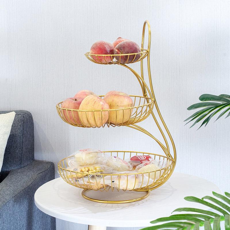 北欧水果盘客厅家用三层水果盆现代创意多层水果架小精致双层果篮图片