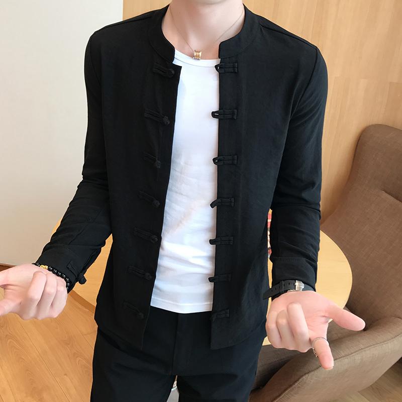 男中国风长袖亚扣唐装棉麻纯色衬衫好用吗