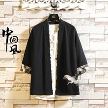 胖子仙鹤刺绣汉服男加肥加大码宽松夏季中国风道袍短款小风衣外套