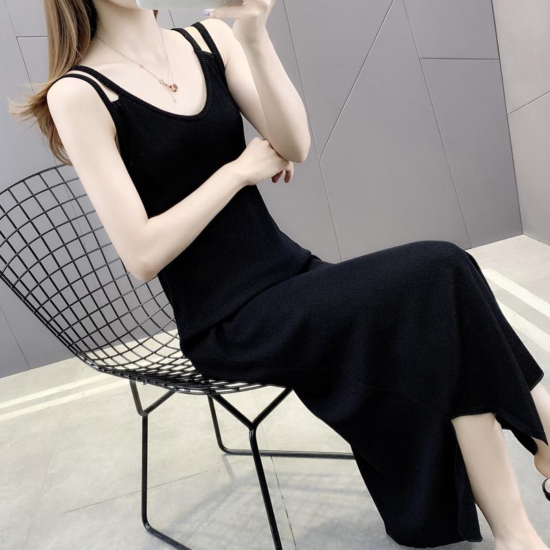 长款吊带裙女早秋2021年新款冰丝针织连衣裙内搭打底裙加长背心裙