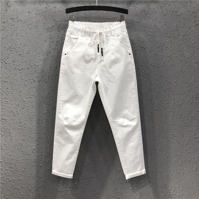 2021春夏新款港味女潮欧洲站宽松显瘦白色休闲九分牛仔垮裤哈伦裤