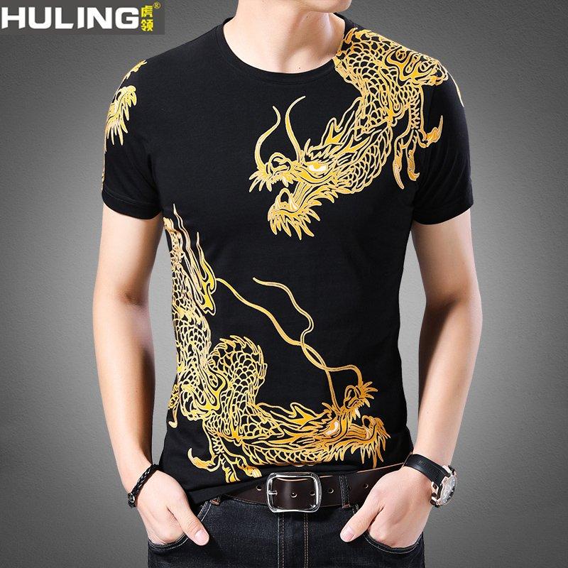 Light luxury summer mens short sleeve T-shirt Chinese dragon pattern printed cotton half sleeve slim fit T-shirt