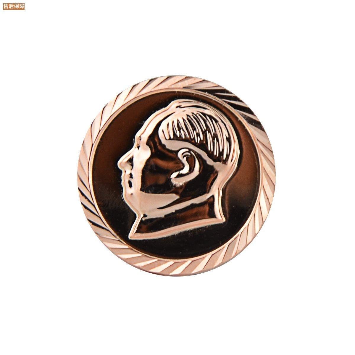 毛主像纯银990足银彩银胸针饰品伟人毛泽东纪念像章配饰西服徽。