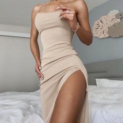 instahot 欧美风女装气质连衣裙女ins时尚斜领吊带紧身开叉长裙潮