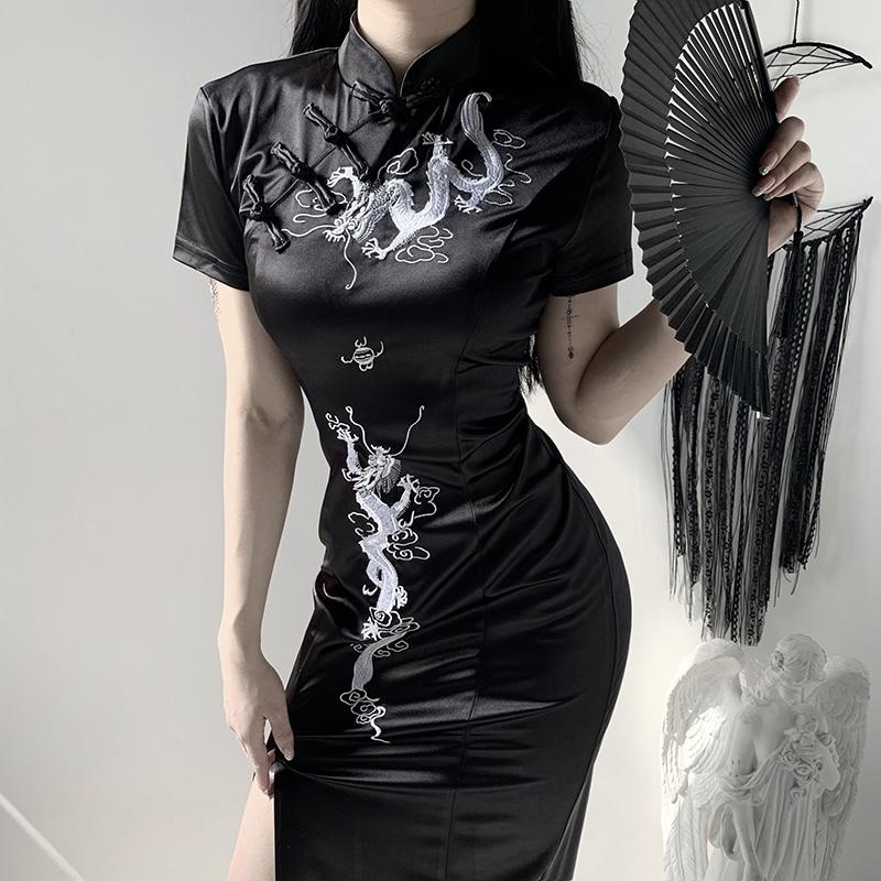 中国风改良旗袍连衣裙2020春夏新款黑色纹龙印花开叉修身性感裙子