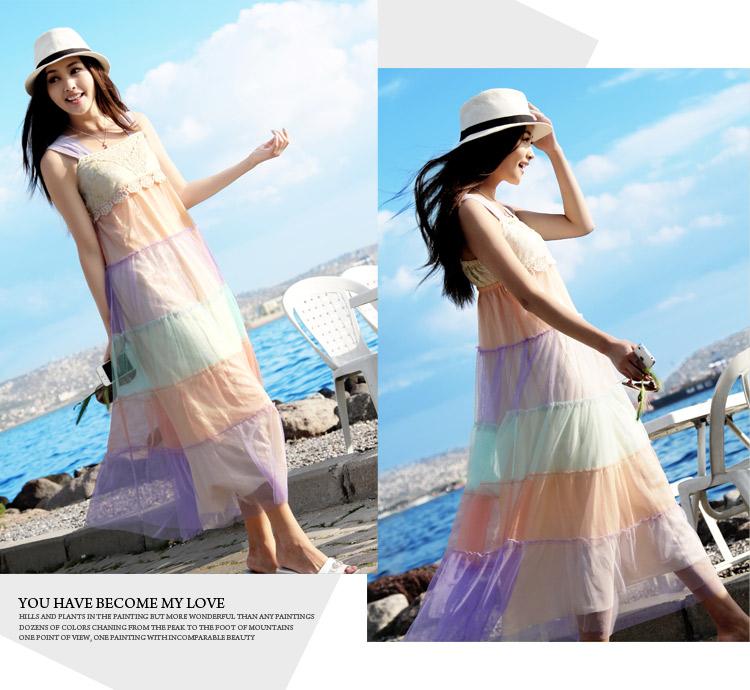天使之城 马卡龙糖果色拼接彩虹连衣裙吊带裙度假海边沙滩