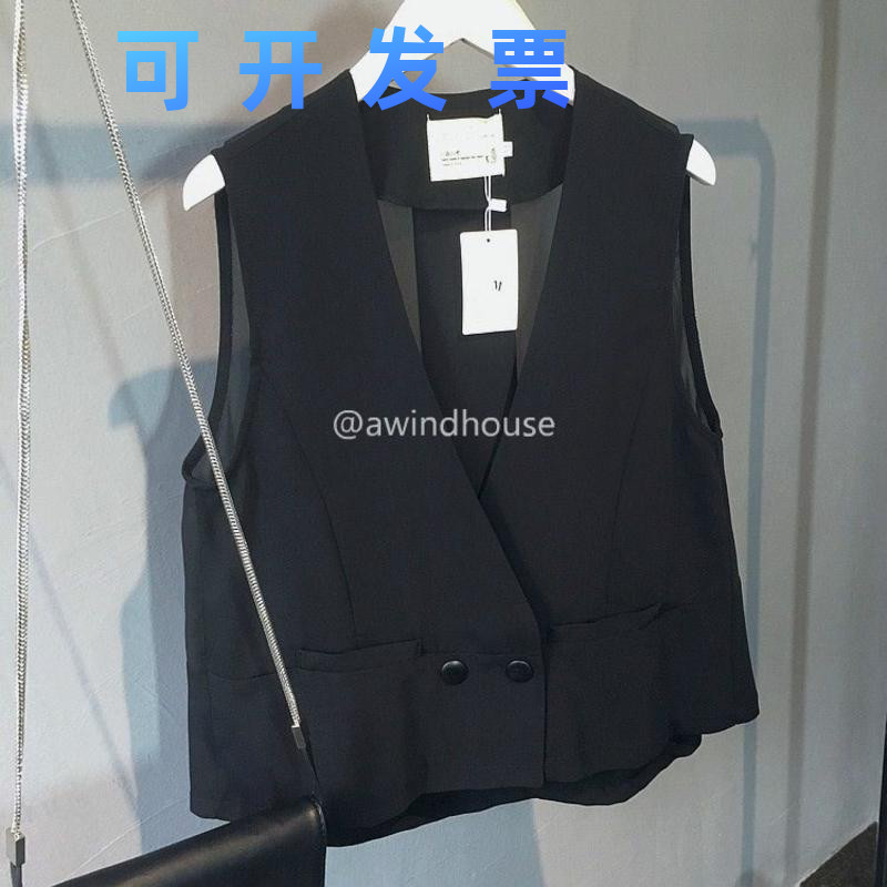 Short womens waistcoat, thin and versatile, fashionable and casual, with summer Chiffon sleeveless vest, fashionable Korean spring and autumn coat