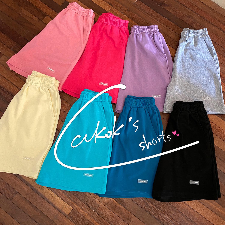 CCKOK自制 百搭休闲纯色短裤2021夏季新款高腰直筒运动五分中裤女