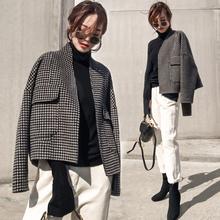 双面羊绒大衣女2020年新款春秋宽松千鸟格外套女短款韩版高端毛呢
