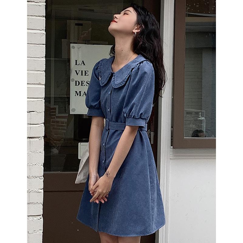 安小落 短袖娃娃领收腰蓝色连衣裙女短款小个子修身显瘦气质裙子