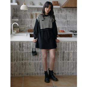 安小落黑色连衣裙女早春新款气质中长款条纹毛衣假两件打底小黑裙