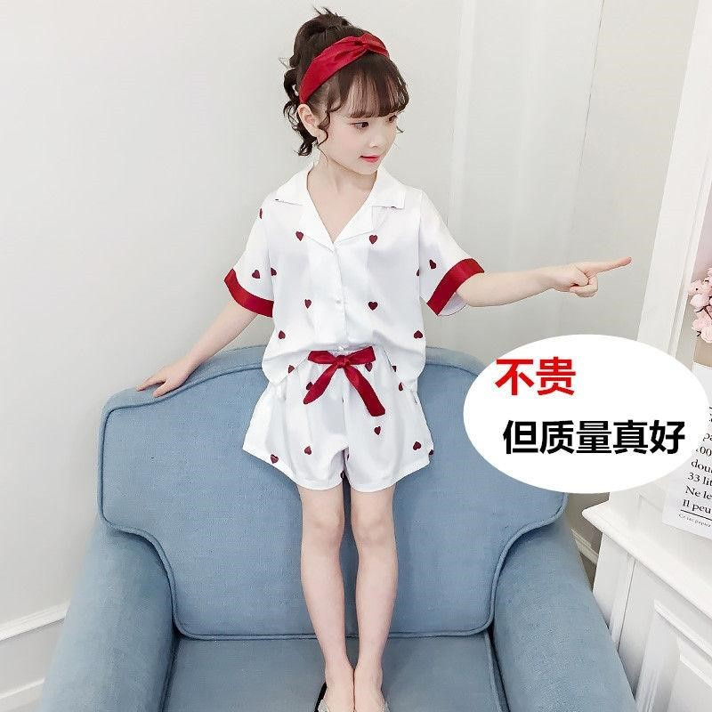 Childrens pajamas summer thin short sleeve suit for big children, girls, princesses, girls home clothes summer ice;