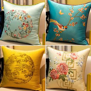新中式 刺绣抱枕红木沙发靠垫大靠背床头靠包中国风靠枕含芯定制套