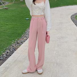 大花媛dhy2021年春夏新款拼接直筒宽松垂感高腰西装裤子女休闲裤