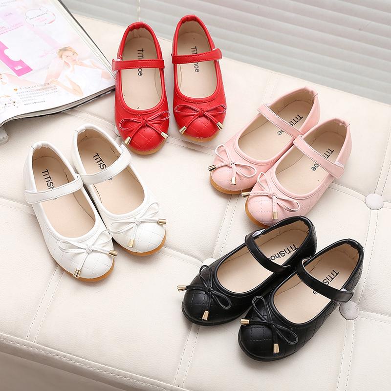 2017 весна новый издание ребенок кожаная обувь девочки принцесса черные туфли белый ребенок горох туфли студент обувь волна