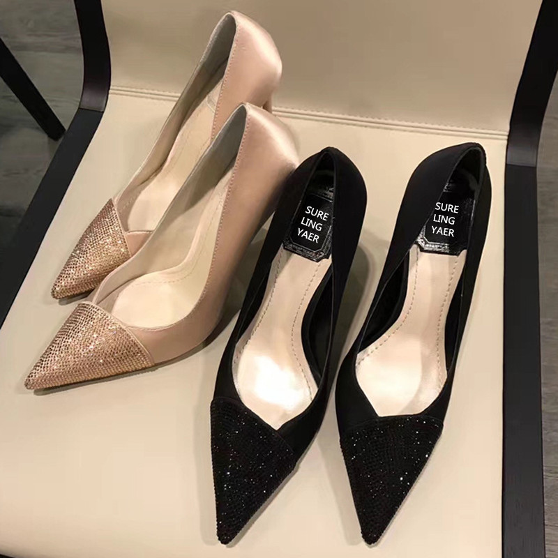新款香槟黑色水钻真丝绸缎真皮伴娘婚鞋拼色尖头细跟女单鞋高跟鞋(非品牌)