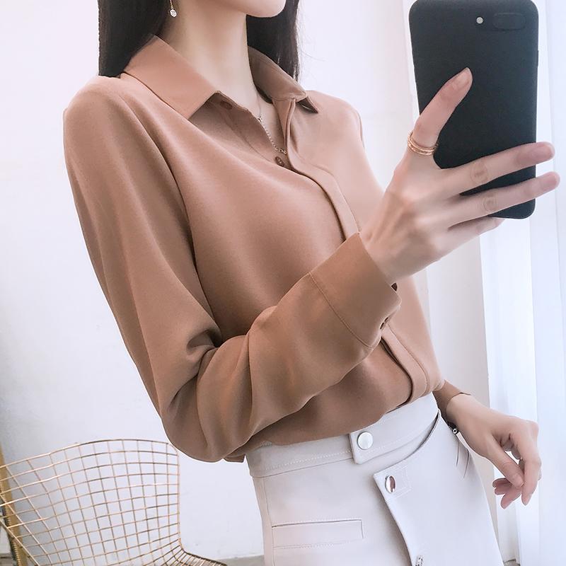 雪纺衬衫女夏季2018新款长袖女装早秋韩范职业白衬衣百搭休闲上衣
