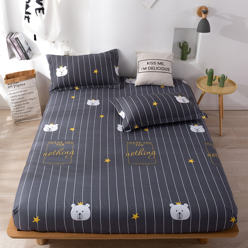 COTTON BEDSPREAD single piece cotton fitted sheet childrens Brown cushion cover mattress protective cover Simmons dust cover all inclusive bedspread