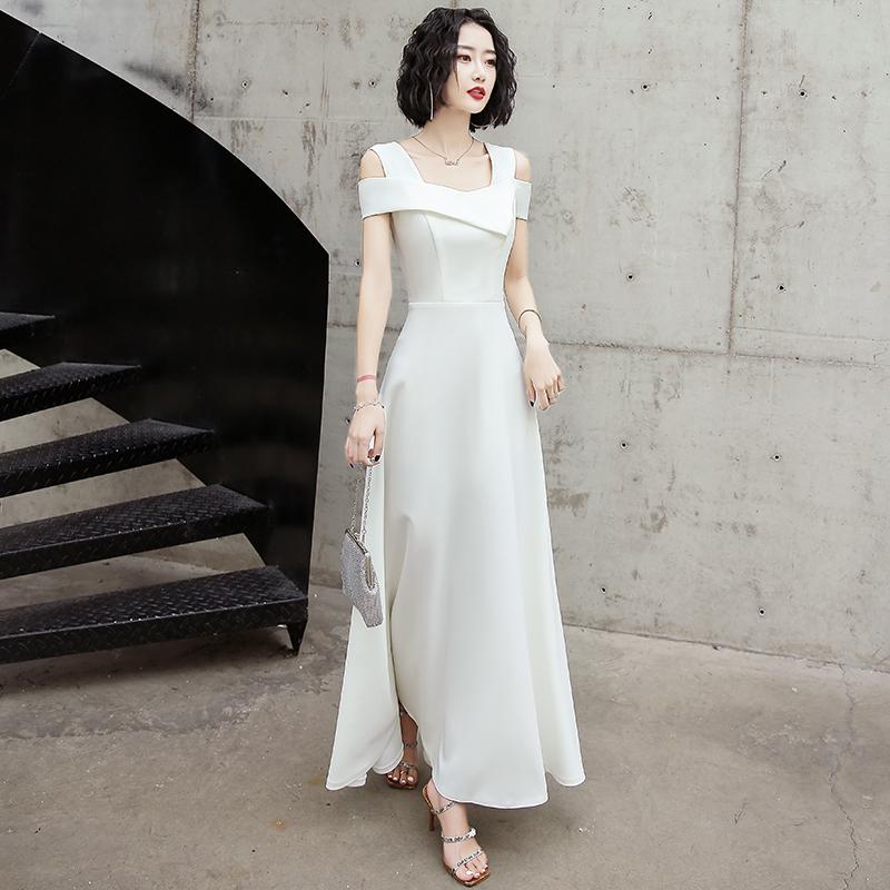 晚礼服连衣裙女夏白色高端轻奢小众2021新款气质高贵优雅宴会订婚
