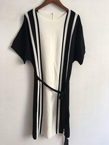 芮maj*mel  精品时尚品牌女装正品折扣针织条纹宽松连衣裙L2907