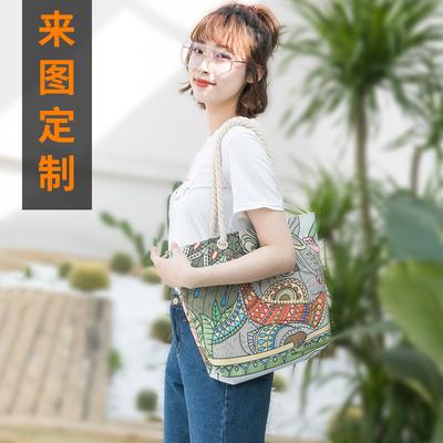 帆布包定制图案 一个起订diy可印照片logo做环保手提袋斜挎单肩女