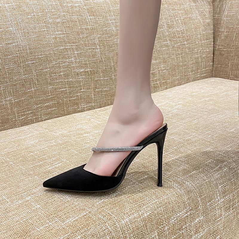 2021亿路资新款外穿春夏百搭尖头高跟女性感细跟包头凉拖鞋10厘米