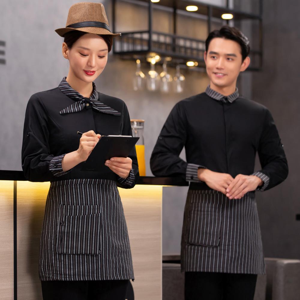 酒店工作服长袖女饭店餐饮服务员秋冬装火锅店中西餐咖啡厅厅制服