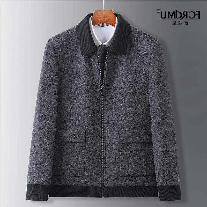Fat brother middle aged business extra large woolen coat lapel stand collar fat man tweed folder