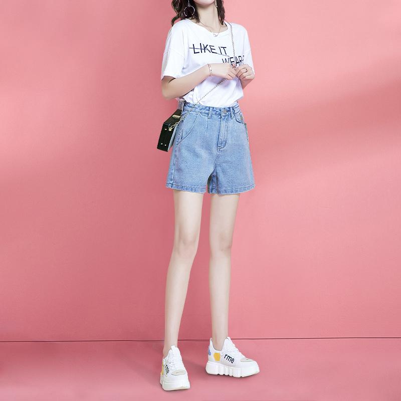 牛仔短裤女a字高腰2020年春夏新款外穿显瘦阔腿ins宽松网红热裤潮