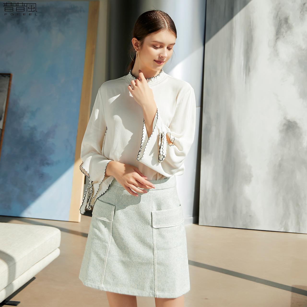 普普风新款简约T恤女装宽松撞色圆领绣花边肌理上衣13596