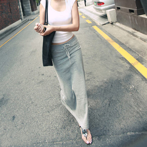 2021春秋包臀长裙半身裙女高腰修身直筒裙夏季休闲灰色开叉裙子棉