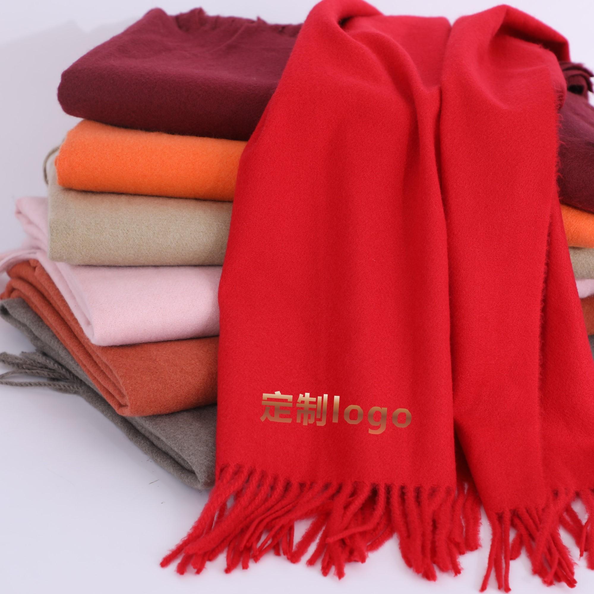 中国红围巾披肩定制刺绣logo仿羊绒围巾印图案年会同学会重阳节