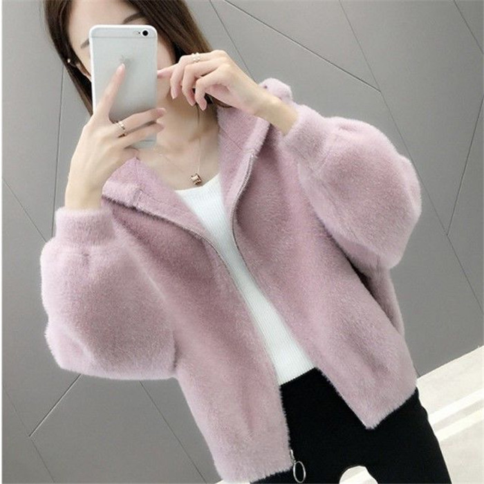 2019 new autumn / winter hairy Hoodie female solid mink like short long sleeve knitted cardigan