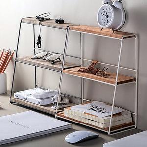北欧铁艺收纳架家用双层办公桌化妆品杂物金属桌面整理厨房置物架