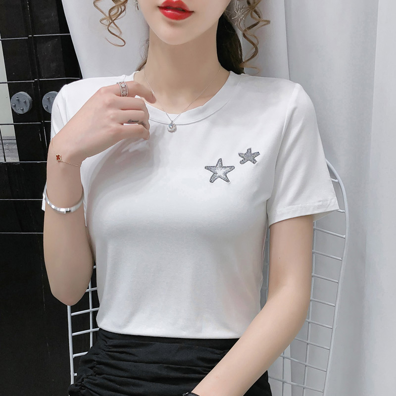 7095#实拍莫代尔棉2021夏装新刺绣星星短袖t恤女