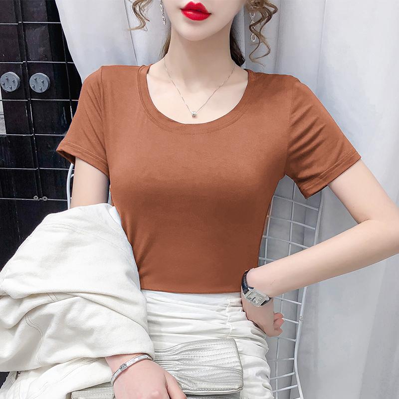 9635#实拍主推莫代尔棉2021夏季新款圆领短袖T恤女