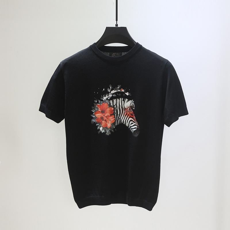斑马潮牌设计感男士半袖针织衫t恤