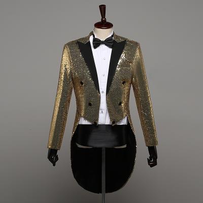 Top grade tuxedo boys and girls Sequin stage performance dress magician coat nightclub host chorus finger