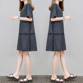 2020夏季新款女装宽松圆领印花裙中长款A字大码显瘦时尚连衣裙女