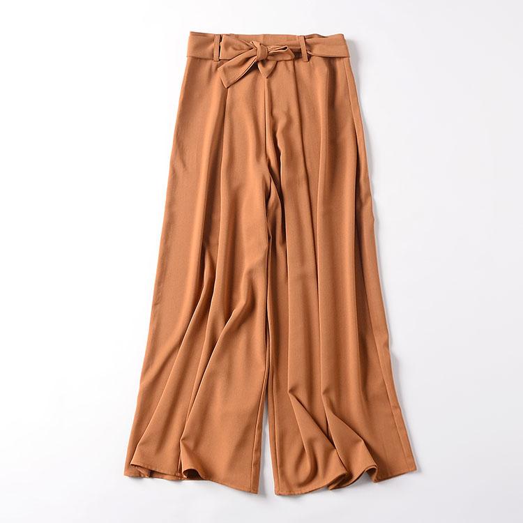 I@3  2018秋季韩版新款女装高腰纯色休闲裤双口袋显瘦阔腿裤长裤